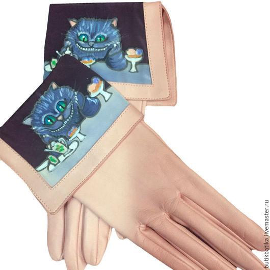 Варежки, митенки, перчатки ручной работы. Ярмарка Мастеров - ручная работа. Купить Кожаные перчатки Сказочный Чешир. Handmade. Комбинированный