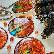 Украшения handmade. Livemaster - original item Royal Peacock earrings transparent. Handmade.