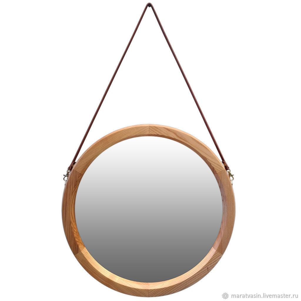 круглое зеркало в деревянной раме на кожаном ремне заказать на ярмарке мастеров F8yv7ru зеркала москва
