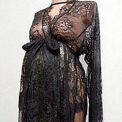 Одежда ручной работы. Ярмарка Мастеров - ручная работа Пеньюар для беременных. Кружевной халат до пола. Handmade.