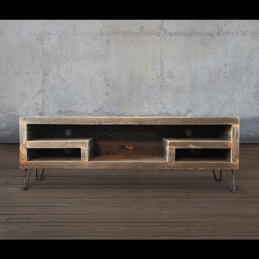 Мебель ручной работы. Ярмарка Мастеров - ручная работа. Купить Консоль под тв в индустриальном стиле.. Handmade. Лофт, дуб