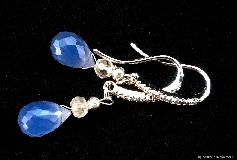 Серьги ручной работы. Ярмарка Мастеров - ручная работа. Купить Серьги с небесно-голубым Халцедоном. Handmade. Подарок для женщины