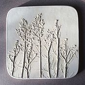 Картины и панно handmade. Livemaster - original item Bluegrass (18,5h18,5cm) Gypsum Botanical panels of Bas-relief. Handmade.