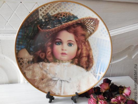 Винтажные предметы интерьера. Ярмарка Мастеров - ручная работа. Купить Тарелка настенная фарфор лимитированная Антикварная кукла. Handmade. Разноцветный