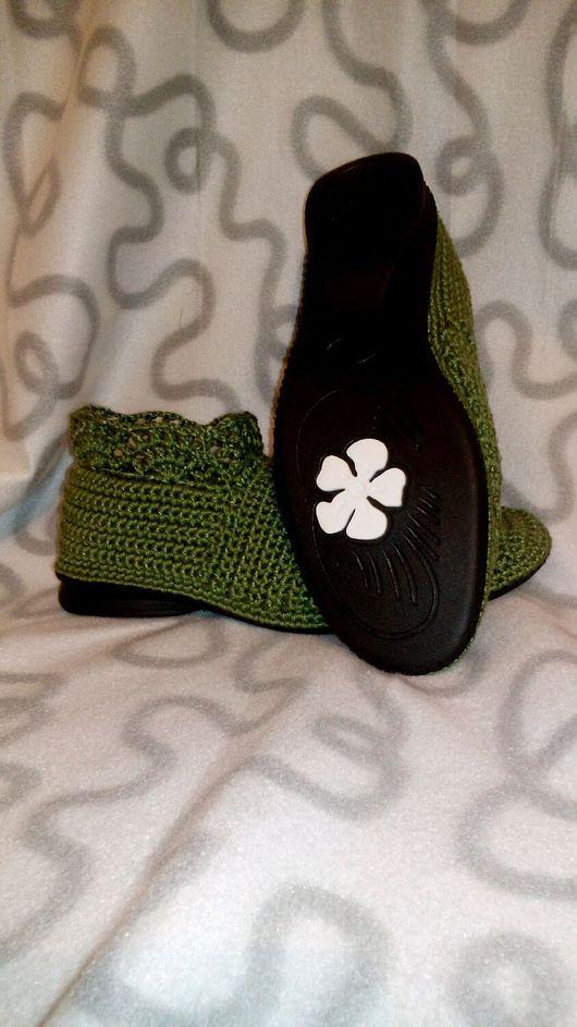 """Обувь ручной работы. Ярмарка Мастеров - ручная работа. Купить Вязаные сапожки """"Кристина"""". Handmade. Подарок, сапожки вязаные, хлопок"""