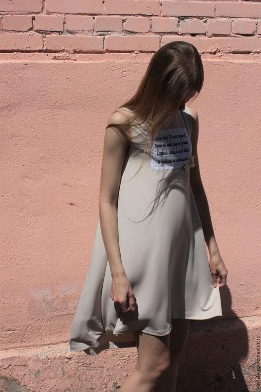 Платья ручной работы. Ярмарка Мастеров - ручная работа. Купить Трикотажное платье с принтом. Handmade. Бежевый, дизайнерская одежда