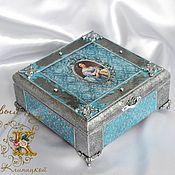 Для дома и интерьера handmade. Livemaster - original item Jewelry box, with mirror, 4 compartments decoupage