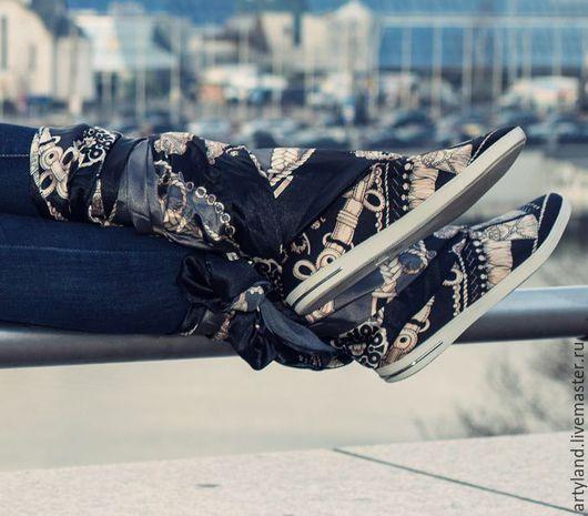 Обувь ручной работы. Ярмарка Мастеров - ручная работа. Купить Черные кеды из платков. Handmade. Черный, кеды, необычная обувь