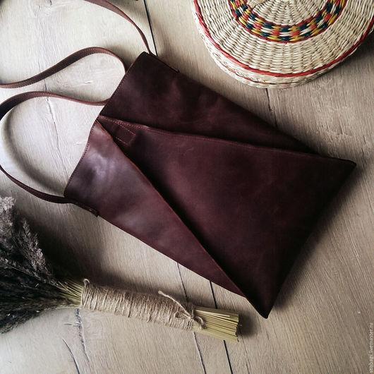 Женские сумки ручной работы. Ярмарка Мастеров - ручная работа. Купить Геометрическая сумка коричневого цвета из кожи Triangulum. Handmade.