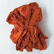 Материалы для творчества handmade. Livemaster - original item Silk handkerchiefs Pumpkin 10 oz. Italian factory DHG. Handmade.
