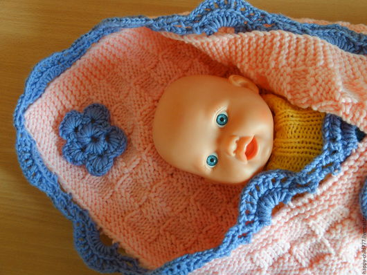 Для новорожденных, ручной работы. Ярмарка Мастеров - ручная работа. Купить плед для фотосессии. Handmade. Розовый, плед вязаный