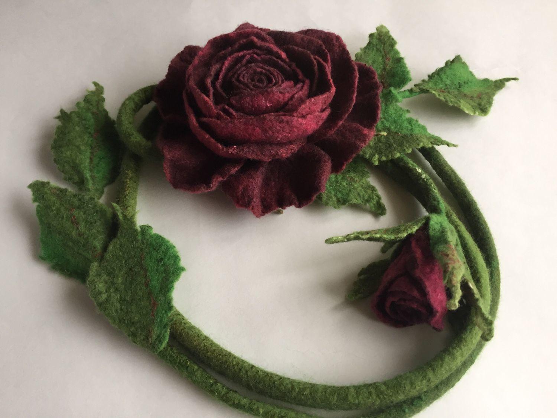 Belt felted rose color Marsala with a Bud, Belt, Korolev,  Фото №1