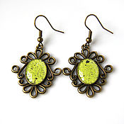 Украшения handmade. Livemaster - original item Earrings lime enamel light green. Handmade.