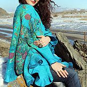 Одежда ручной работы. Ярмарка Мастеров - ручная работа Кейп (пончо) Весенние цветы. Синий. Handmade.
