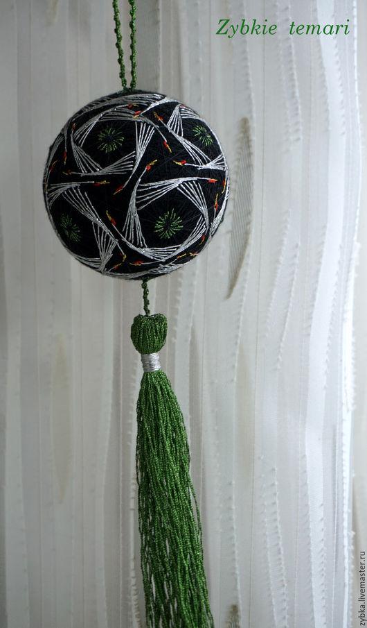 """Темари ручной работы. Ярмарка Мастеров - ручная работа. Купить Темари """"Журавли"""". Handmade. Зеленый, журавль, необычный подарок, подвеска"""