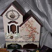 """Для дома и интерьера ручной работы. Ярмарка Мастеров - ручная работа Домик для чая (двойной) """"Магнолии душистый аромат"""". Handmade."""