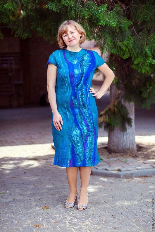 Большие размеры ручной работы. Ярмарка Мастеров - ручная работа. Купить Аквамарин платье валяное из шелка и мериносовой шерсти. Handmade.