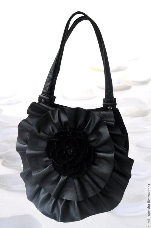 сумка кожаная, сумка кожаная женская, сумка кожаная чёрная, сумка кожаная черная, сумка кожаная с розой, сумка кожаная подарок, сумка кожаная цветок, сумка кожаная стильная