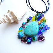Украшения handmade. Livemaster - original item Pendant made of glass and Turquoise stone, decoration glass fusing. Handmade.