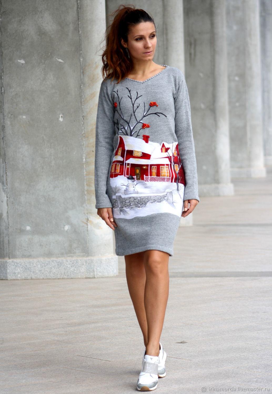 Зимнее серое вязаное шерстяное женское платье с вышивкой, Платья, Мурсия,  Фото №1