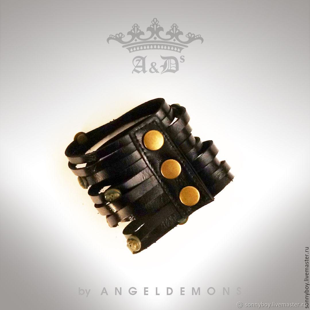Браслет из кожи - Bracelet Black Old Brass Skull