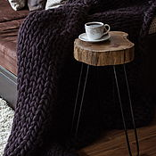 Пледы ручной работы. Ярмарка Мастеров - ручная работа Плед крупной вязки шерсть меринос цвет шоколадный. Handmade.