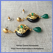 Украшения handmade. Livemaster - original item Earrings gold plated with chrysoprase. Handmade.