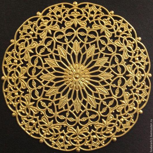 Для украшений ручной работы. Ярмарка Мастеров - ручная работа. Купить Большая Филигранная основа из латуни, 58х58х0,5мм. Handmade.