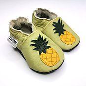 Обувь ручной работы handmade. Livemaster - original item Baby Shoes, Pineapple, Olive Mocassins, Leather Baby Shoes. Handmade.