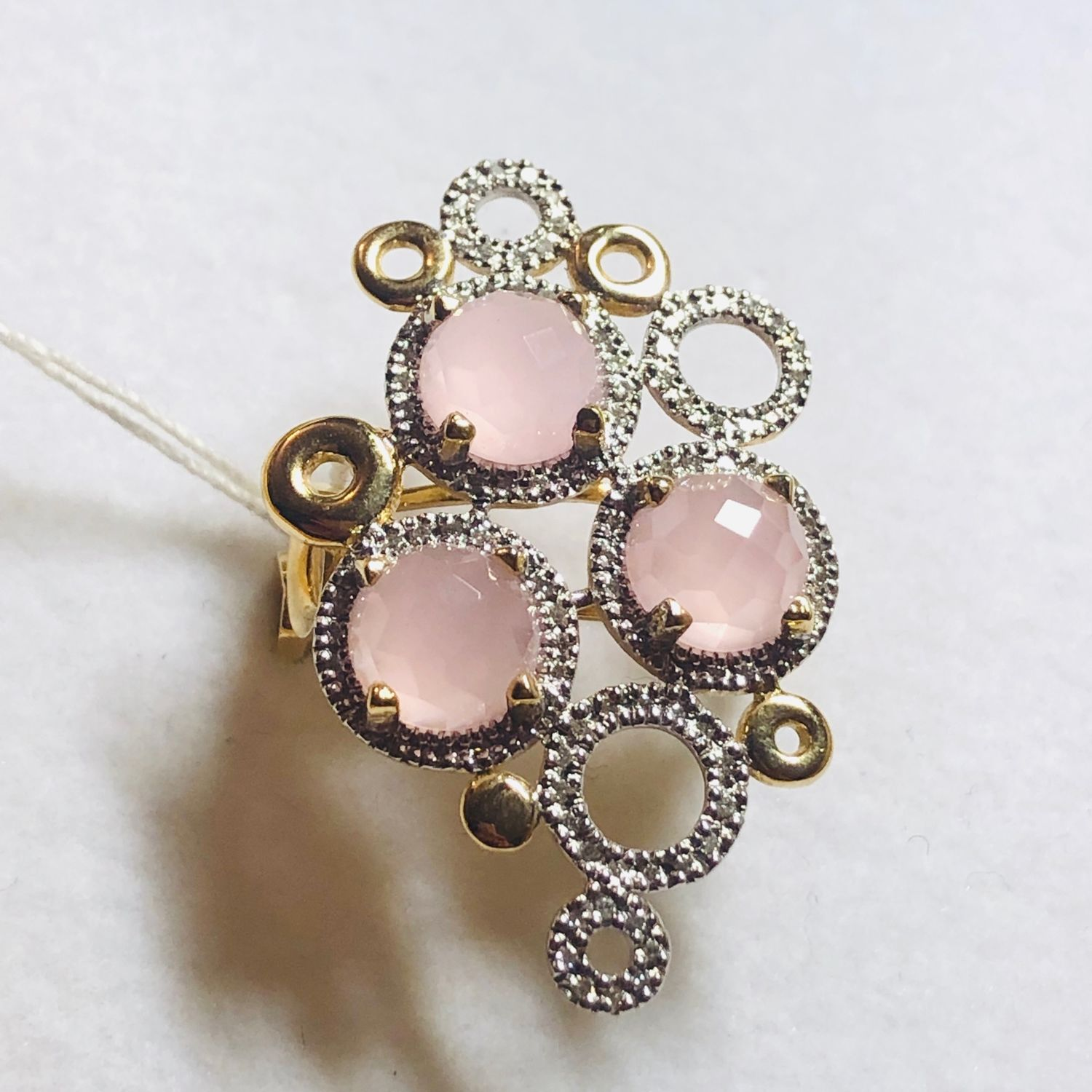 Tenderness. Earrings and ring with diamonds and rose quartz, Jewelry Sets, Moscow,  Фото №1
