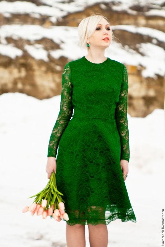 """Платья ручной работы. Ярмарка Мастеров - ручная работа. Купить Платье """"В стиле Дольче Габбана""""Зеленое Кружево"""". Handmade."""
