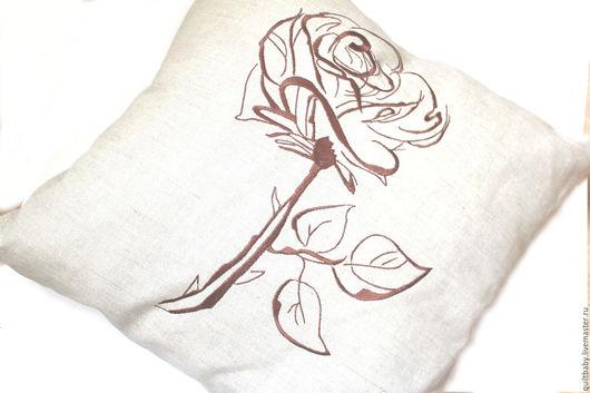 """Текстиль, ковры ручной работы. Ярмарка Мастеров - ручная работа. Купить Льняная подушка """"Роза"""", 50х50. Handmade. Серый"""