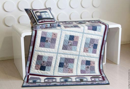 Текстиль, ковры ручной работы. Ярмарка Мастеров - ручная работа. Купить Лоскутный плед с наволочкой «Лапландия». Handmade. Одеяло, синий
