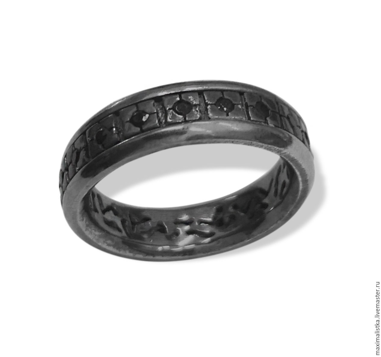 Ring 'Pitch' of titanium with silver and onyx, men's, Rings, Moscow,  Фото №1