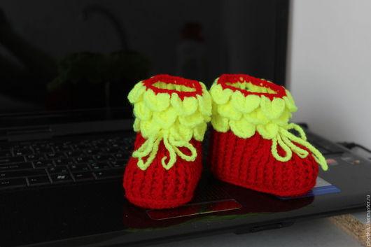 Для новорожденных, ручной работы. Ярмарка Мастеров - ручная работа. Купить Пинетки сапожки. Handmade. Комбинированный, красивый подарок