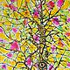 """Абстракция ручной работы. Ярмарка Мастеров - ручная работа. Купить Витраж """"Дерево"""". Handmade. Комбинированный, дерево, зеленый, картина для интерьера"""