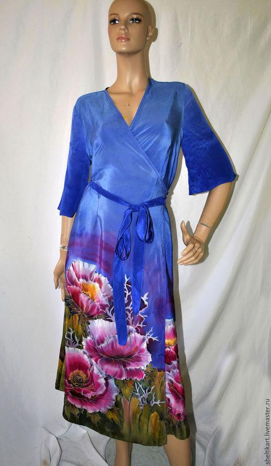 Халаты ручной работы. Ярмарка Мастеров - ручная работа. Купить Платье халат Маки. Handmade. Синий, синие платье