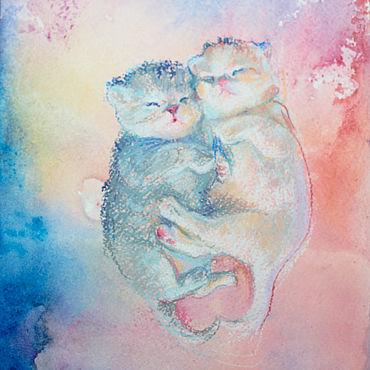 Картины и панно ручной работы. Ярмарка Мастеров - ручная работа Маленькие котята картина. Handmade.