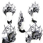 Головные уборы ручной работы. Ярмарка Мастеров - ручная работа Головной убор для фото-сессии. Кокошник с черепами.. Handmade.