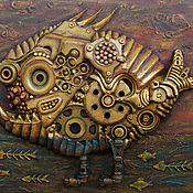 """Картины и панно ручной работы. Ярмарка Мастеров - ручная работа Стимпанк-панно """"Биомеханическая рыба"""" маленькая. Handmade."""