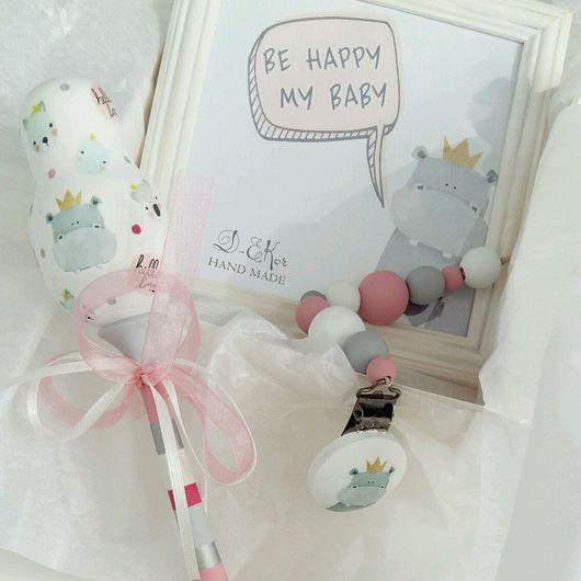 Подарки для новорожденных, ручной работы. Ярмарка Мастеров - ручная работа. Купить Подарочный набор для новорожденного. Handmade. Погремушка, на рождение ребенка