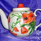 Чайники ручной работы. Ярмарка Мастеров - ручная работа Чайник с маками (0136). Handmade.