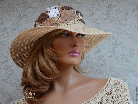 """Шляпы ручной работы. Ярмарка Мастеров - ручная работа. Купить Шляпка """"Кристина"""". Handmade. Бежевый, ажурная шляпка, шоколад"""