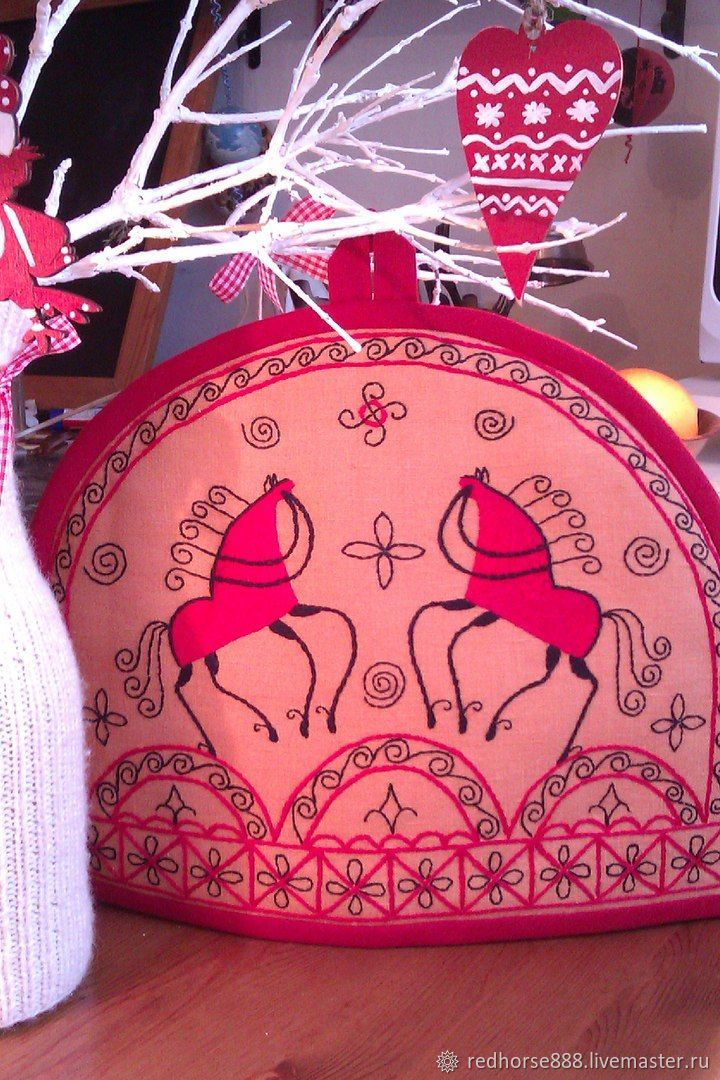 Linen hot water bottle for a teapot in Russian style with embroidery Red horses, Pockets, St. Petersburg,  Фото №1