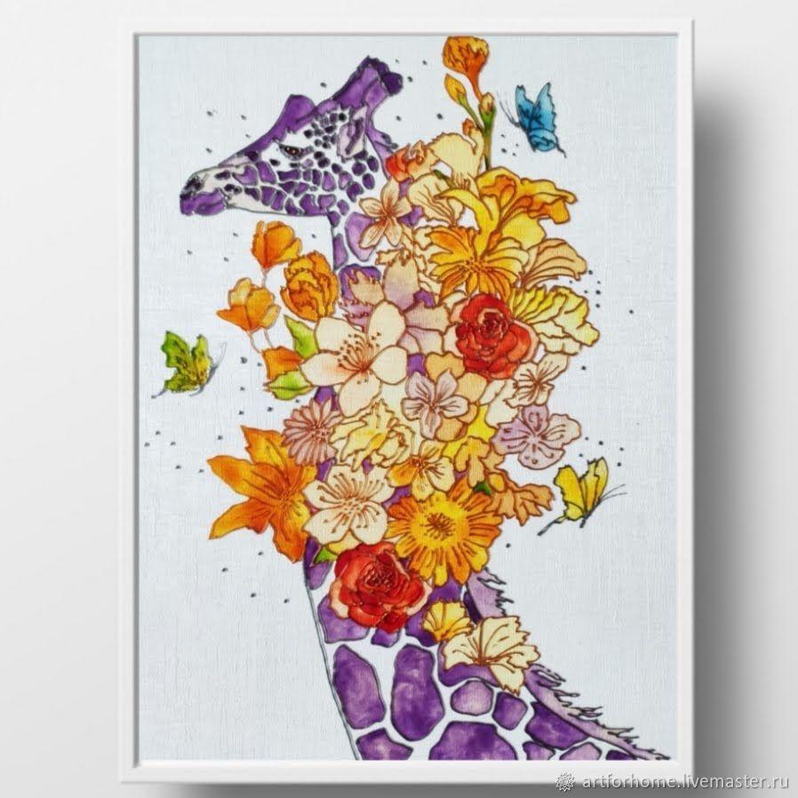 Подарок женщине, картина, витражная роспись: Жираф в цветах, Картины, Санкт-Петербург,  Фото №1
