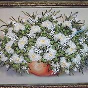 Картины и панно ручной работы. Ярмарка Мастеров - ручная работа Вышивка лентами -розы. Handmade.
