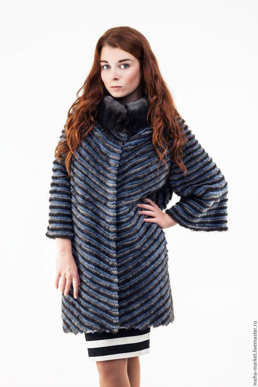Меховое пальто комбинированное 2015