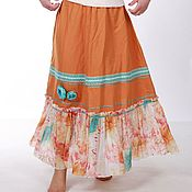 Одежда ручной работы. Ярмарка Мастеров - ручная работа Льняная юбка в пол цвета горчицы ( бирюзовые цветы). Handmade.
