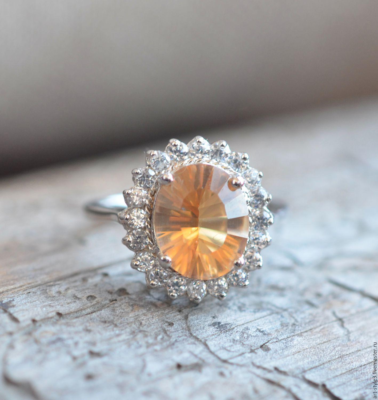 Rings handmade. Livemaster - handmade. Buy A sparkling ring with Citrine, Silver 925.Silver, topaz, natural topaz