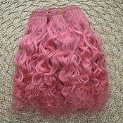Материалы для творчества handmade. Livemaster - original item Hair pieces natural mohair (goat) soft pink. Handmade.